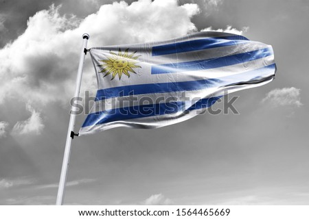 Waving Flag of Uruguay in Blue Sky. Uruguay Flag on pole for Independence day. The symbol of the state on wavy cotton fabric. #1564465669