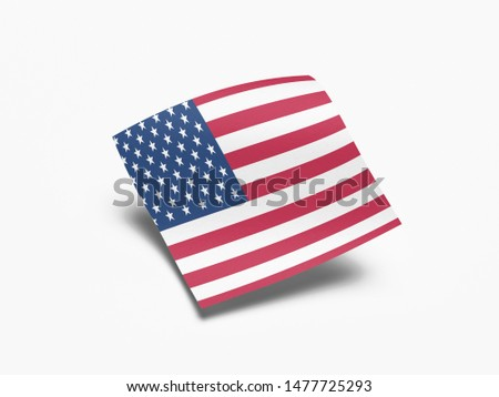 Waving Flag of USA, Flag of USA in White Background. #1477725293