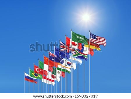 Waving flags countries of members Group of Twenty. Big G20 21–22 November 2020 in the capital city of Riyadh, Saudi Arabia. Blue sky background. 3d rendering.  Illustration.