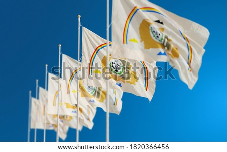 Waving flags of Navajo American Indians. Flag of the Navajo Nation in US. 3D rendering