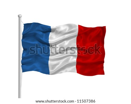 waving French flag on white