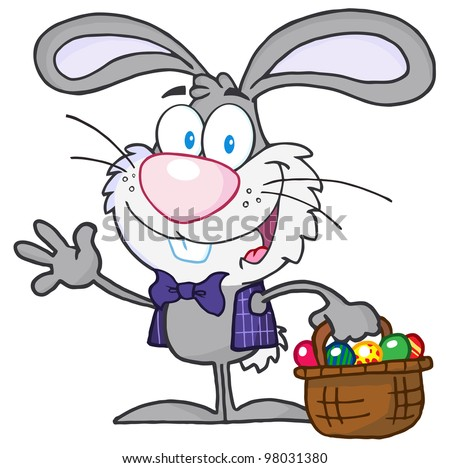 Waving Gray Bunny With Easter Eggs And Basket. Raster Illustration.Vector version also available in portfolio.