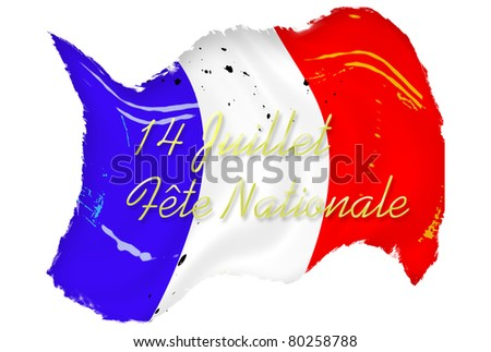 Waving grunge French flag stained and spotted over white background with text