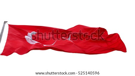 Waving in wind flag of Turkey. Isolated on white background. #525140596