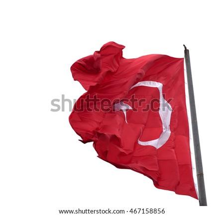 Waving in wind flag of Turkey on flagpole. Isolated on white background. #467158856