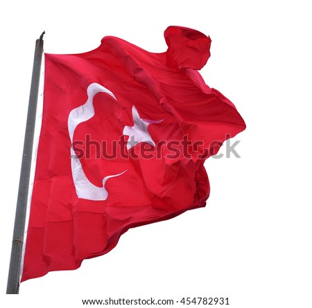 Waving in wind flag of Turkey with flagpole. Isolated on white background. #454782931