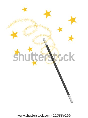 waving magic wand isolated on white background