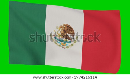 waving mexico mexicanos national flag in realistic 3d render with fabric texture Foto stock ©