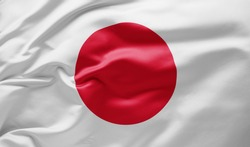 Waving national flag of Japan