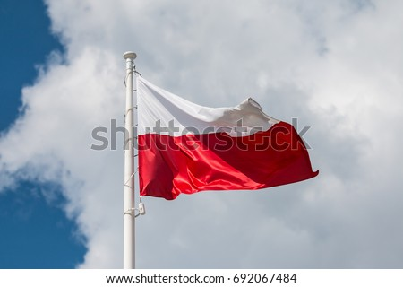 Waving national flag of Poland on a flagpole, national colors of Poland. #692067484