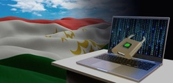 Waving national flag of the Tajikistan. Concept for information technology and data security safety to prevent cyber attack. Internet and network security.