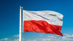 Waving on wind polish national flag