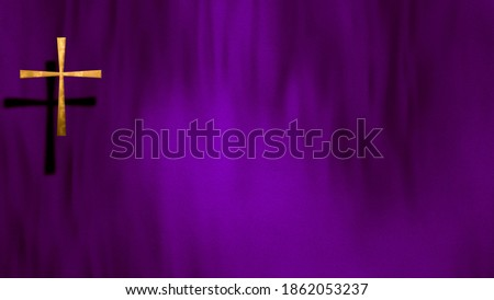 Waving satin with golden Christian Cross on liturgic violet purple copy space. 3D illustration concept for online worship church sermon in Advent and Lent symbolizing penance sacrifice and mourning