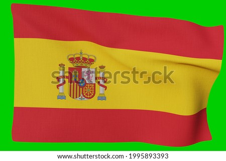 waving spain espana national flag in realistic 3d render with fabric texure Stock fotó ©