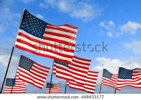 Waving USA flags on sky background. Patriotic concept #648433177