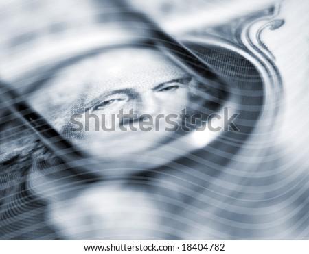 Wavy abstract stripes overlaid over Washington face on US Dollar