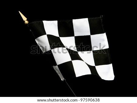 Wavy Black and White Finish Line Checkered Flag isolated on black background