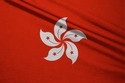 Wavy fabric of Hong Kong flag. Hong Kong is one states of china country.