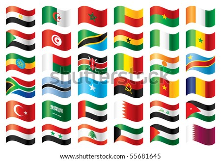 Wavy flags set - Africa & Middle East. 36  flags. JPEG version. - stock photo