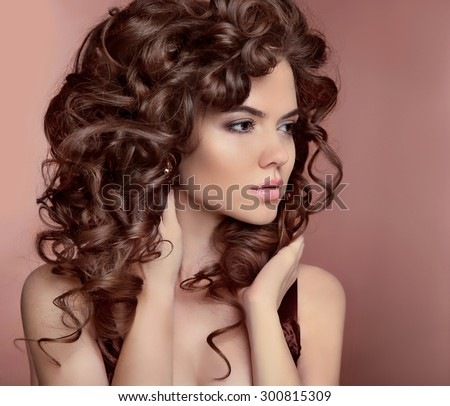 Pleasant Wavy Hair Beautiful Girl With Makeup Curly Hairstyle Brunette Hairstyles For Men Maxibearus