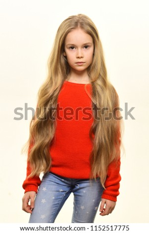 wavy hair. small girl with beautiful wavy hair. wavy hair of pretty kid isolated on white. wavy hair stylish at hairdresser