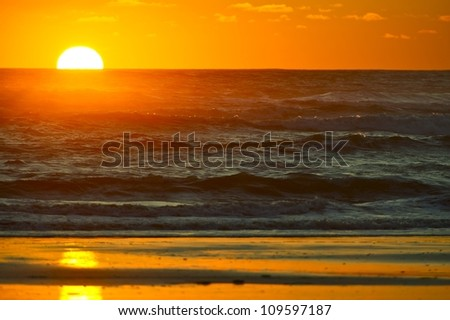 Wavy Ocean Sunset Horizon. Pacific Sunset Theme. Nature Photography Collection