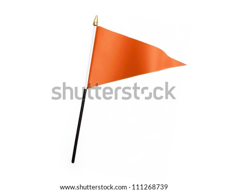 Wavy Orange Flag isolated on white background