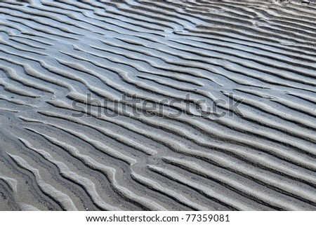 Wavy patterns in the sand formed by wind on the beach