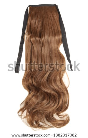 Wavy Ribbon Medium Brown Synthetic Ponytail Hair Extension #1382317082