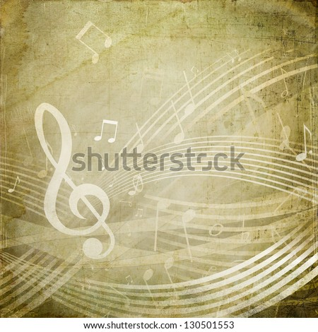Wavy score with musical notes on grunge sepia background
