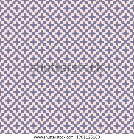 Wavy seamless pattern. Subtle raster abstract liquid lines texture. Simple blue and pink background with curved waves, crosses, fluid shapes. Optical art. Stylish modern repeat design for decor, print stock photo