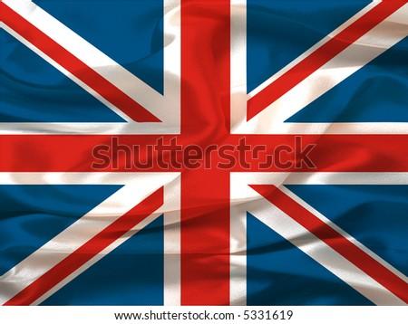 Wavy (Silky) Union Jack - digital illustration - stock photo