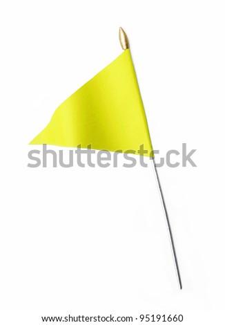 Wavy Yellow Flag isolated on white background
