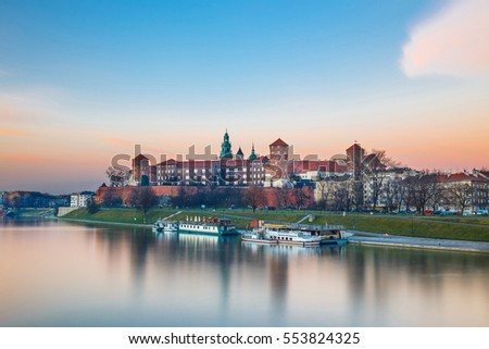 Wawel Castle in the evening in Krakow, Poland. Long time exposure #553824325