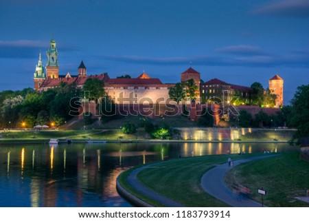 Wawel Royal Castle and Vistula river view taken from Most Dębnicki in evening sky Zdjęcia stock ©