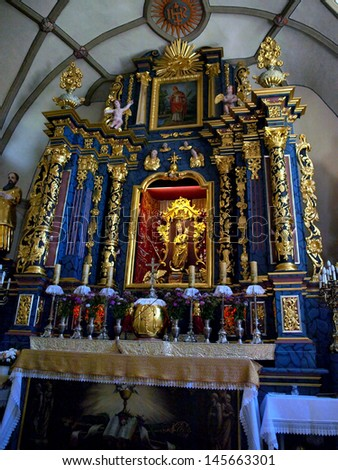 WAWOLNICA, POLAND - JUNE 19: Shrine of Our Lady of Keble. The interior of the chapel of the miraculous statue in Wawolnica, Poland June 19, 2013 - stock photo