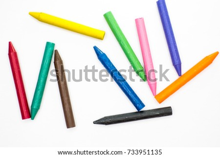 Wax crayons in a pile #733951135