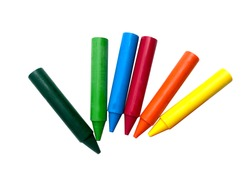 wax crayons isolated white background