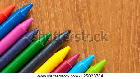 wax crayons on wood table stock photo 125023784 shutterstock. Black Bedroom Furniture Sets. Home Design Ideas