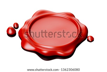 Wax seal red. Isolated on white background. 3d renderin illustration  stock photo