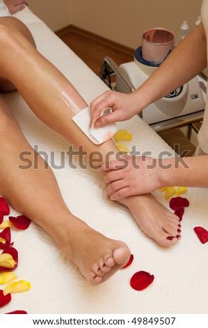 Waxing in spa salon