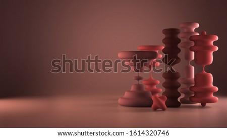 Waxy candles in the shape of hourglass, abstract shapes, organic composition, pink pastel colored background, concept of passing of time, fluidity, perception of relativity