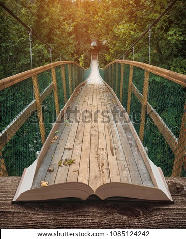 Way by the suspension bridge in a misty forest on the pages of an open magical book. Majestic landscape. Nature and education concept. #1085124242