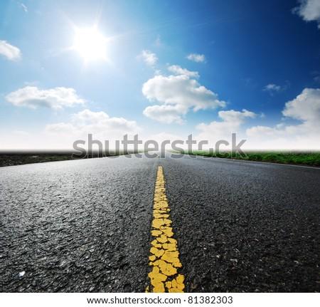 Way high way blue sky to Travel Destination journey #81382303