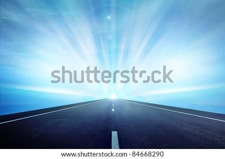 Way highway blue sky #84668290