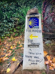 Way Mark Stone Post with Scallop Shell Pilgrim Sign and Yellow Arrow Symbol in Galicia Forest on the Way of St James Camino de Santiago Pilgrimage Trail