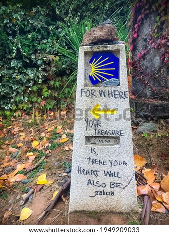 Way Mark Stone Post with Scallop Shell Pilgrim Sign and Yellow Arrow Symbol in Galicia Forest on the Way of St James Camino de Santiago Pilgrimage Trail Foto d'archivio ©