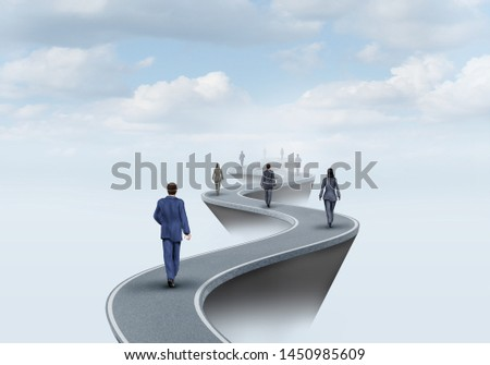 Way of success and road to worker opportunity as a group of people walking on a pathway to opportunities with 3D illustration elements.