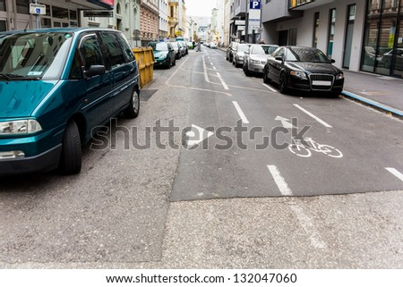 way street, especially marked lane for cyclists in the opposite direction