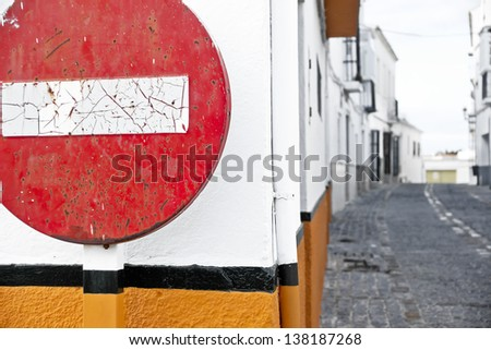 Way street, old no entry signs, symbolic photo for traffic regulations, direction, clarity